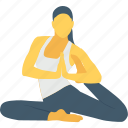 back, back leg stretch, stretch, woman, yoga gym icon