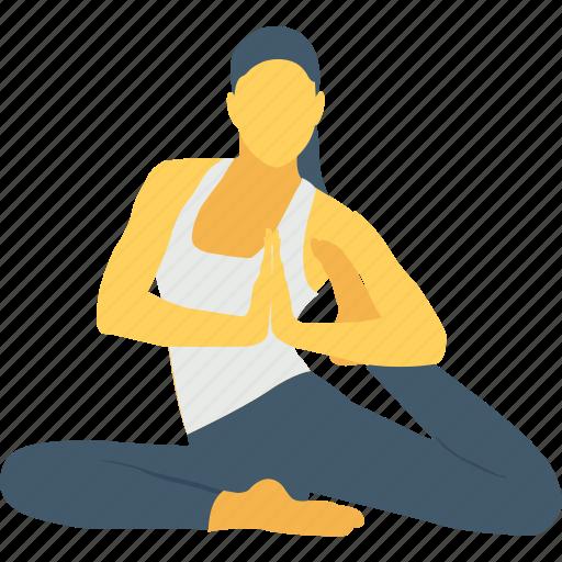 back, back leg stretch, stretch, woman, yoga gym icon