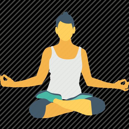 fat burn, lotus pose, mediation, meditate sitting, yoga icon