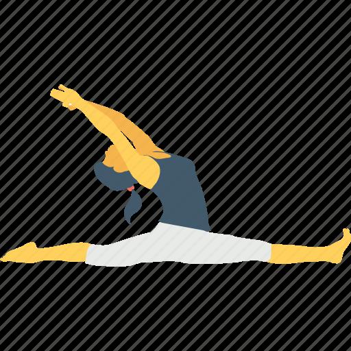 female, gymnast, leap, split, split leap icon