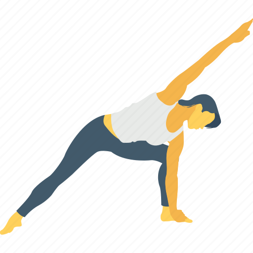 angle pose, extended, extended side, side, yoga icon