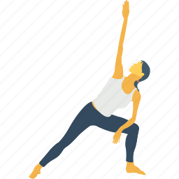 exercise, pose, side angle pose, side extended, yoga pants icon