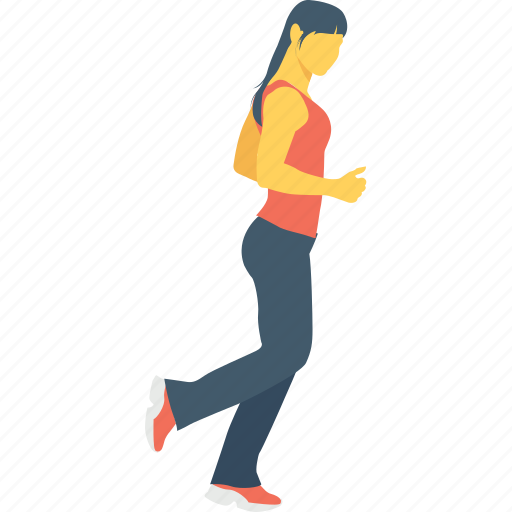 athlete, female, jogging, running, walking icon