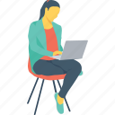 blogger, female, girl, lady, laptop icon