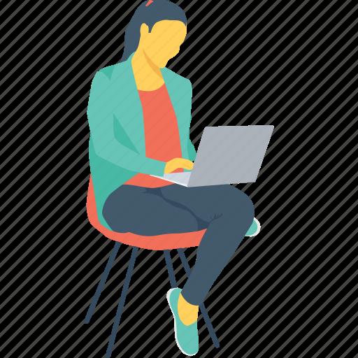 blogger, female, girl, lady, laptop icon