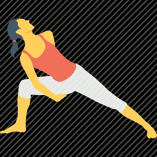 aerobics, beginner, exercise, reverse warrior pose, sanskrit icon