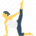 bent, bodya, heron, heron pose, vinyasa icon