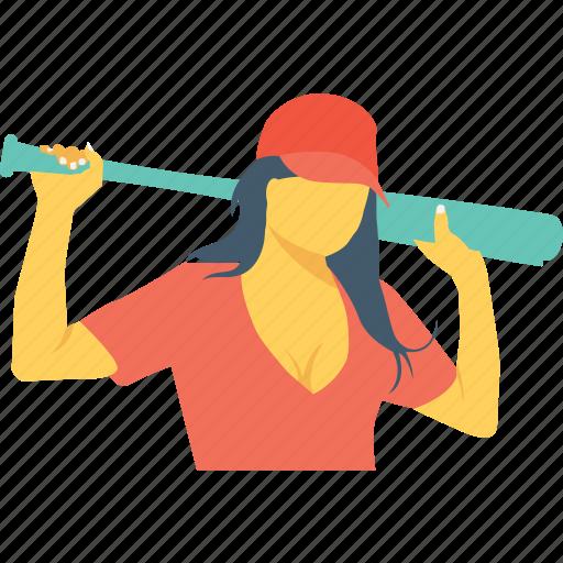 baseball, bat, playing, sports women, women icon