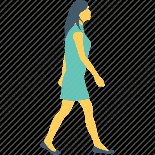 female, girl, go, running, walking icon