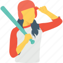 baseball, bat, playing, sports women, women icon