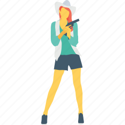 female, girl, gun, pistol, spy icon