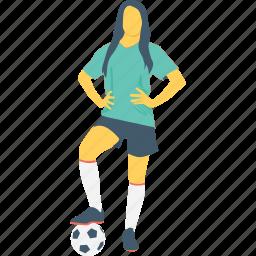 female, football player, player, sports women, sportsperson icon