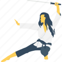 girl, judo, karate, katana, sword icon