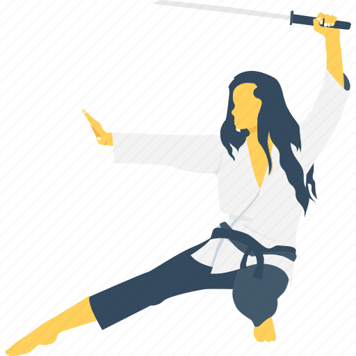 girl, judo, karate, katana, sword icon