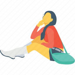 female, girl, journey, passenger, sitting icon