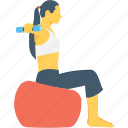dumbbell, exercise, fitness, girl, weightlifting icon