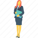 businesswomen, employee, file, handsome, lawyer icon