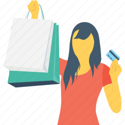 discount, excited, girl, shopping, shopping bag icon