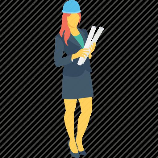architecture, construction worker, engineer, female developer, worker icon