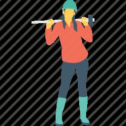 construction, female worker, hammer, iron, technician icon