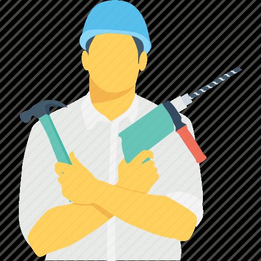 carpenter, drill, hammer, technician, worker icon