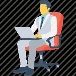 businessman, businessperson, freelancer, manager, working icon