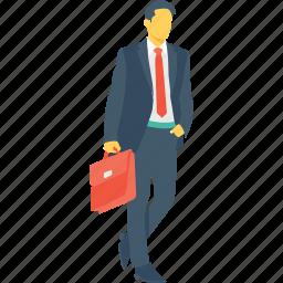 boss, briefcase, businessman, businessperson, director icon