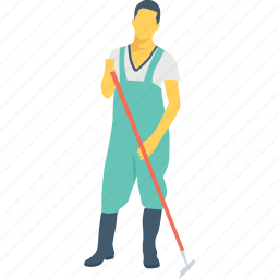 cleaning, janitor, man, service, worker icon