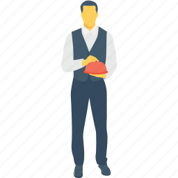 butler, food server, food service, male waiter, waiter icon