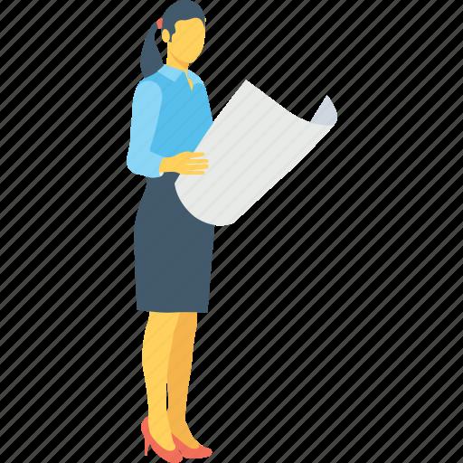 employee, female, girl, newspaper, reader icon