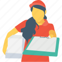 courier, delivery girl, delivery service, logistics, parcel icon