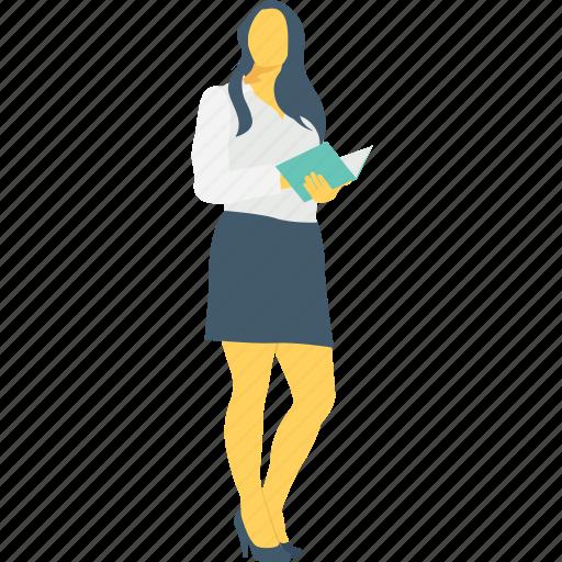 businesswomen, employee, file, handsome, lawyer icon