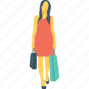female, girl, handbag, shopping, woman icon