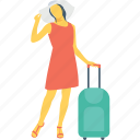 female, passenger, tourist, traveller, voyager icon