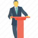 address, presentation, public speaker, seminar, speech icon