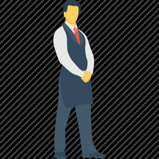butler, hotel manager, manager, restaurant servant, waiter serving icon