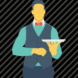 butler, drink server, food server, male waiter, stewardess icon
