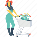 agriculture, farmer, female, gardener, trolley icon
