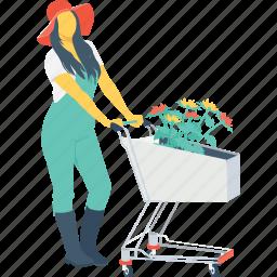 agriculture, farmer, female, gardener, trolley icon
