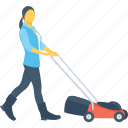 cutter, gardener, grass, lawnmower, mowing