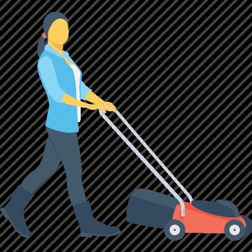 cutter, gardener, grass, lawnmower, mowing icon