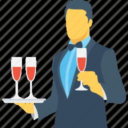 butler, drink serving, food server, waiter, wine icon