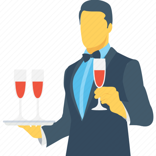 butler, drink serving, food server, waiter, wine icon