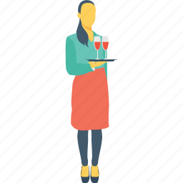 drink serving, female, waiter, waitress, wine serving icon