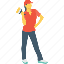 girl, house painter, labour, painter, worker