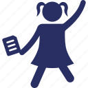 avatar, girl cheering, happy girl, happy student, silhouette icon