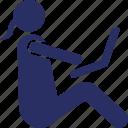 female user, internet surfer, internet user, web surfers, web user icon
