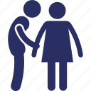 couple, female, holding hands, male, twosome icon