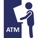 atm, atm usage, atm withdrawal, cash withdrawal, transaction icon