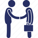 deal, business, money, man with bag, two person icon